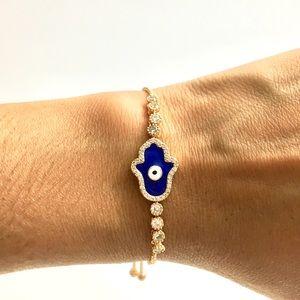 Adjustable Gold Stainless Steel Bracelet/Hamsa.